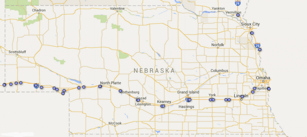nebraska rest area stops map